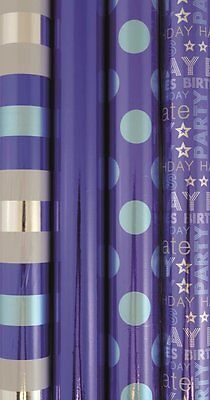 6m Metallic Foil Effect Gift Wrapping Paper Roll - Blue - Birthday Any Occasion