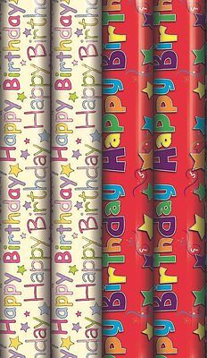 12m Mixed Happy Birthday Gift Wrapping Paper - 4x3m Roll's Male Female Children