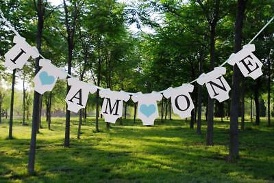 1st Birthday Bunting Banner Baby Shower Boy Blue Heart Decor I AM ONE Theme
