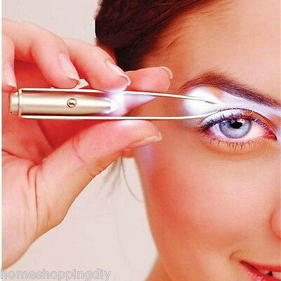S Up Led Light Eyebrow Tweezer Eyelash Pointed Plucker Hair Removal Tweezer