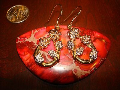 Amazing Vintage Gold Plated Sterling Silver & Diamonds Earrings.925