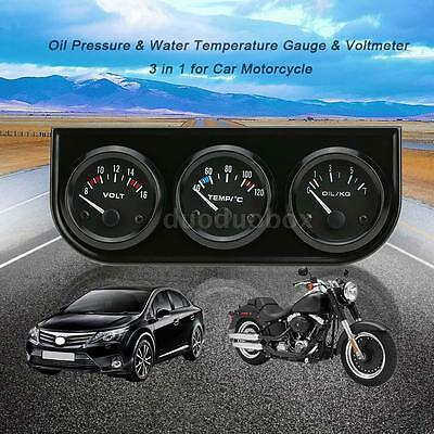 "2"" 52mm LED Car Motorcycle Oil Pressure/Water Temp Gauge Sensor Voltmeter O2R1"