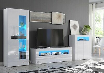 Modern High Gloss and Matt White  Black Cabinet Cupboard Sideboard LED Lights