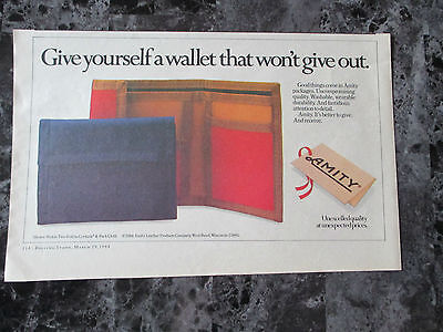 """Vintage 1984 Amity Leather Wallets Print Ad, 10.375"""" X 6.5"""""""