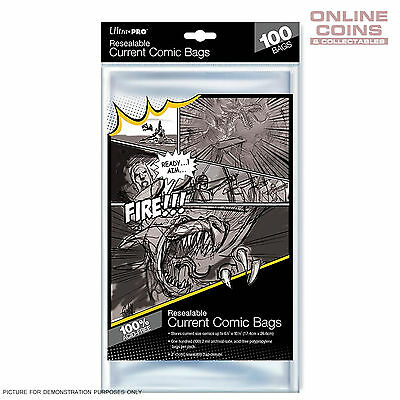 Ultra Pro RESEALABLE Acid Free Ultra Clear Current Size Comic Bags x 100