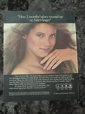 "Vintage 1984 De Beers A Diamond Is Forever Ring Print Ad, 12.5"" X 10.25"""