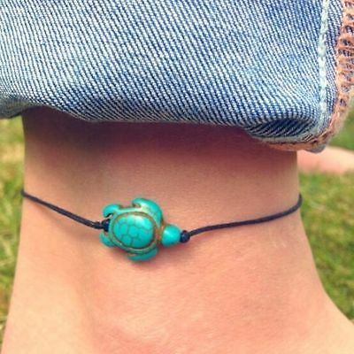 Women Turquoise Turtle Jewelry Ankle Chain Anklet Bracelet Foot Beach Jewelry