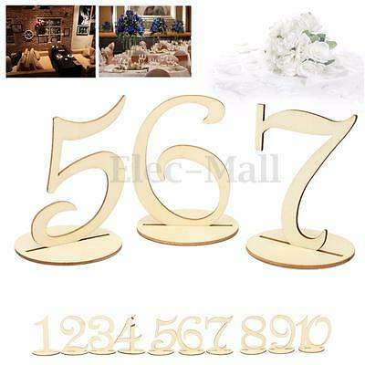 Wooden Shape Table Numbers 1-10 RAW Wood Stick Set For Wedding Birthday Party