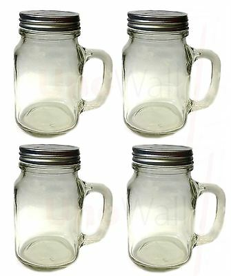 Set of 4 Mason Glass Drinking Jars with Handles and Lids 20oz 1 pint 568ml