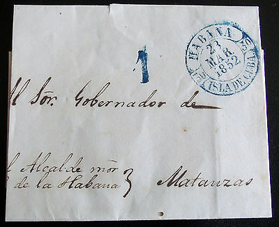 RARE (R) 1852 Spanish Colony PRE-PHILATELIC Cover, Fine Conservation State
