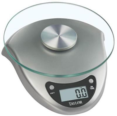 New Taylor 3831S Digital Kitchen Scale 6.6 Lb Silver Glass Battery
