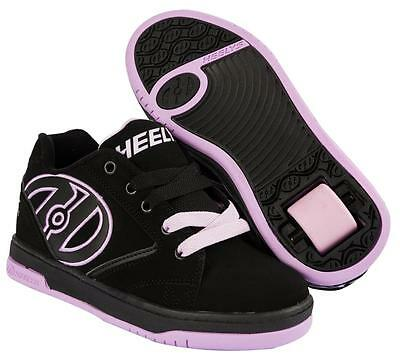 Girls Heelys Propel 2.0 Black Lilac Lace Up Boys Roller Skate Shoes Boots 770516