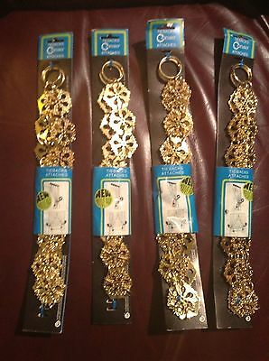 "NEW TWO Vintage ""Brass/Gold"" Metal Drapery Curtain CONSO TIE BACK Hook Chain NIP"