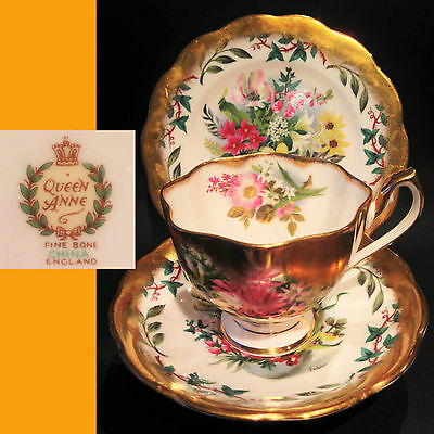 Queen Anne 1950s Signed by Fedden Gold Edge English Vintage Bone China Trio Set