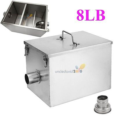 Durable 8LB 5GPM Gallons Per Minute Stainless Steel Grease Trap Interceptor