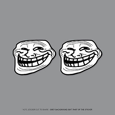 Sku2290 2 x troll face meme stickers decals badges 50mm x 41mm