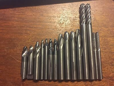 Lot of 15 Mixed Carbide End Mills and Burrs