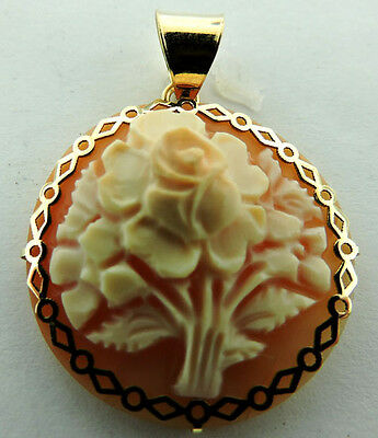 14K Yellow Gold Carved Shell Cameo Pendant Charm