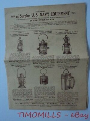 1924 E.J. Willis Co. Catalog of U.S. Navy Surplus Equipment Lamps Lighting More