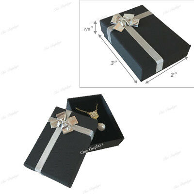 Lot Of 10 Black Bow-Tie Boxes Jewelry Boxes Danger Earring Boxes Pendant Box
