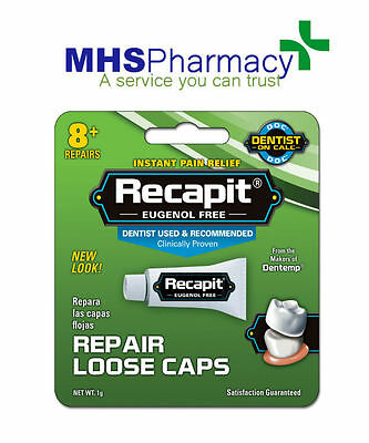 2 x RECAPIT No Mix Cement Loose Caps And Crowns 8+ repairs  Tooth Filling repair