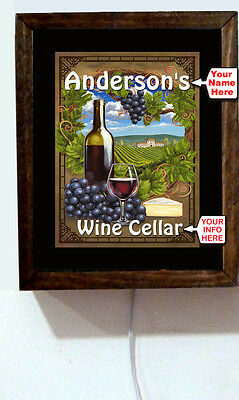 Personalized Name Wine Cellar Vinyards Bottle Grapes Bottle Light Lighted Sign
