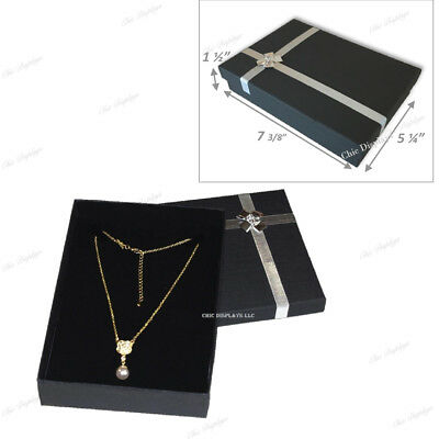 """1 Pc  BLACK NECKLACE DISPLAY JEWELRY GIFT BOX LARGE NECKLACE BOX 1.5""""H ~DEAL"""