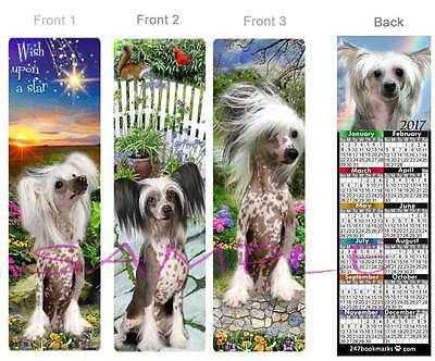 3 Lot-CHINESE CRESTED 2017 Calendar BOOKMARK Fun ART DOG Book Mark Card Figurine