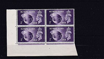GB VARIETY George VI 1948 3d OLYMPIC Stamp 'CROWN Flaw' SG496a BLOCK 6 Ref::X2