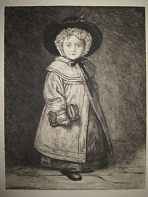 Antique British Arts Crafts Impressionist Woolliscroft Rhead Girl Etching Wricht