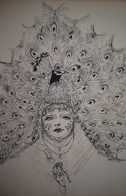 1914 Antique Art Nouveau Gibson Girl Illustrator Art Pheasant Feathers Couture