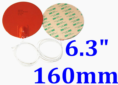 160 mm Round 12V 60W with 120C thermostat 3M Backing 1PC Silicon Heater