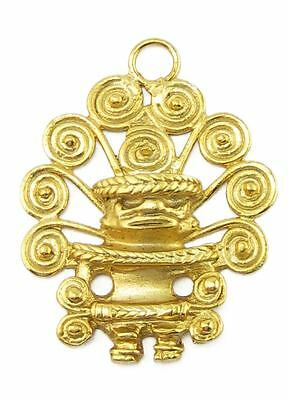 ACROSS THE PUDDLE 24k GP Pre-Columbian Cacique with Nine Spirals Diadem Pendant