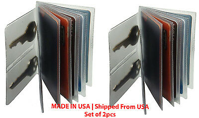 Heavy duty vinyl 6 pages wallet insert - KEY tab for trifold-bifold MADE IN USA