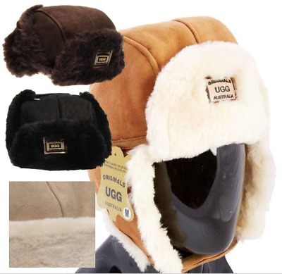 Originals Ugg Australia Sheepskin Trapper Aviator Hat Black Brown Chestnut Mens