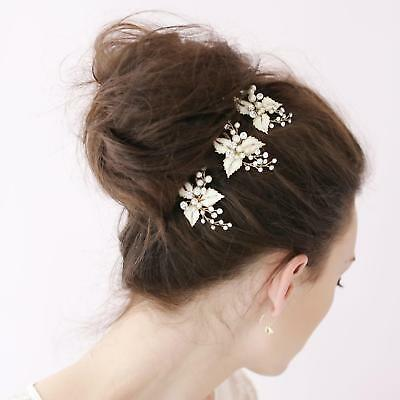 3pcs Diamante Flower Crystal Pearl Hair Pins Clips Bridal Wedding Bridesmaid