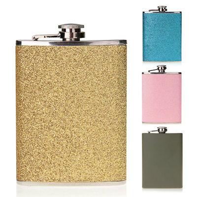 8oz Stainless Steel Alcohol Drink Liquor Whisky  Flask Pink Army ,Color Selected