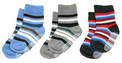 Kids Boys Blue Stripe 3-Pack Stripe Calf / Knee Anti-slip Socks Age 1 2 3 4 5