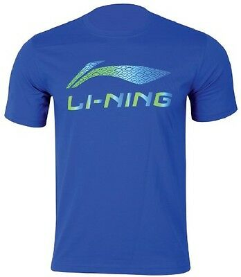 Li-Ning Mens Tee T Shirt Large Blue Round Neck Badminton Tennis Squash Lining