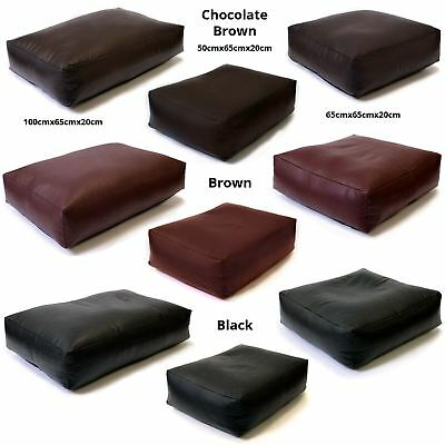 Faux Leather Large XL XXL Slab Footstool Pouffe Bean Bag Beanbag with Filling