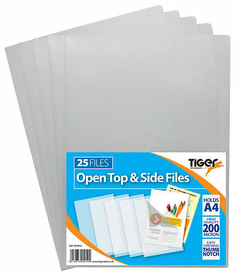 Strong A4 Open Top and Side Covers Report Files Cut Flush Folder Clear 300950