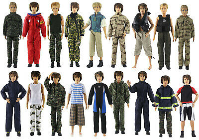Lot 10 PCS Fashion Outfits/Clothes/Uniform For Barbie's boy friend Ken Doll