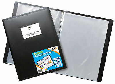 A4 FLEXI COVER DISPLAY BOOK BLACK 20/40 Pockets Professional Portfolio Filing