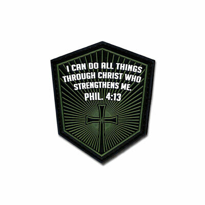 Tactical Combat Morale Patch PVC Hook and Loop by BASTION - PHIL. 4:13 GREEN