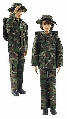 Military-style camouflage clothes/Outfit Top+Pants+Bag+Hat For Ken Doll