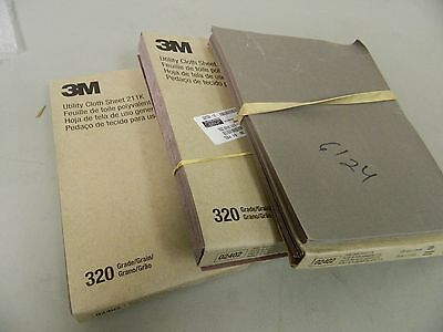 "3m Utility Cloth Sheet 9"" X 11"" Alum Oxide Grade 320 Qty 150 Sheets 211K #02402"