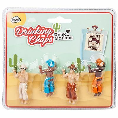 Drink Markers Drinking Chaps Wine Beer Glass Buddies Set of 4 Cowboys