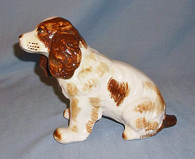 Vintage Wales Porcelain Brittany or Cocker Spaniel Dog Figurine Sitting