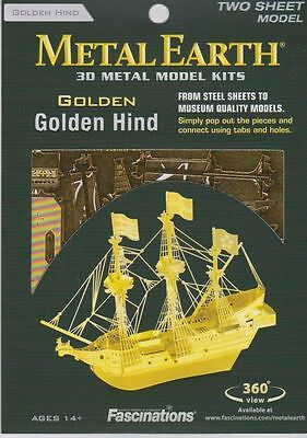 Metal Earth 3D Laser Cut Steel Model Kit Golden Hind Ship (Gold Color Ver)