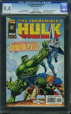 Incredible Hulk #449 (CGC 9.4 NM) (Marvel 1997) 1st Appearance Thunderbolts!